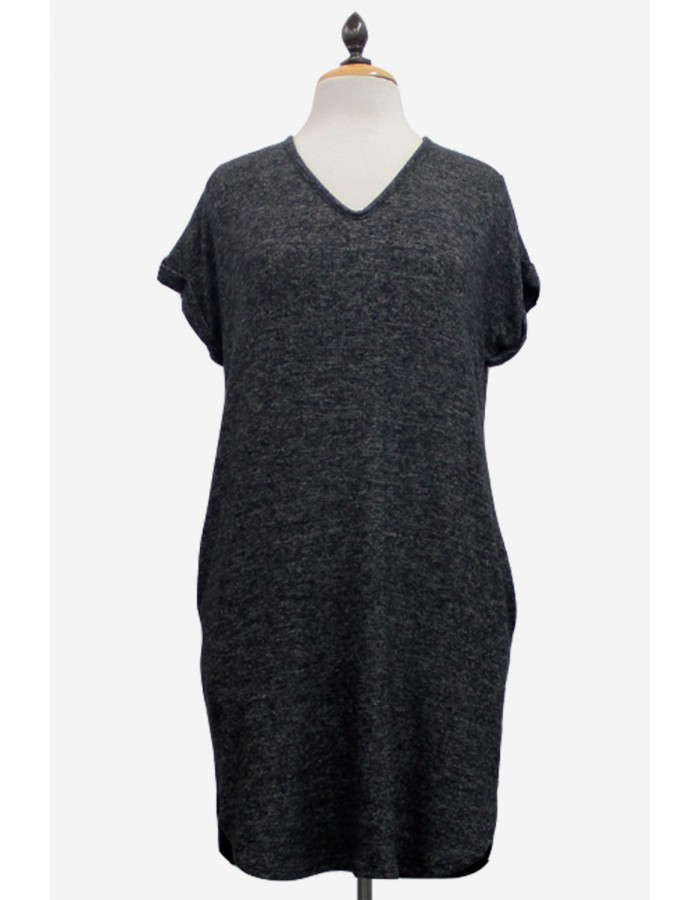 Ultra Soft V-Neck Rolled Sleeve Dress